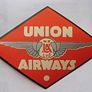 Rare UNION AIRWAYS  New Zealand Airline Baggage Sticker