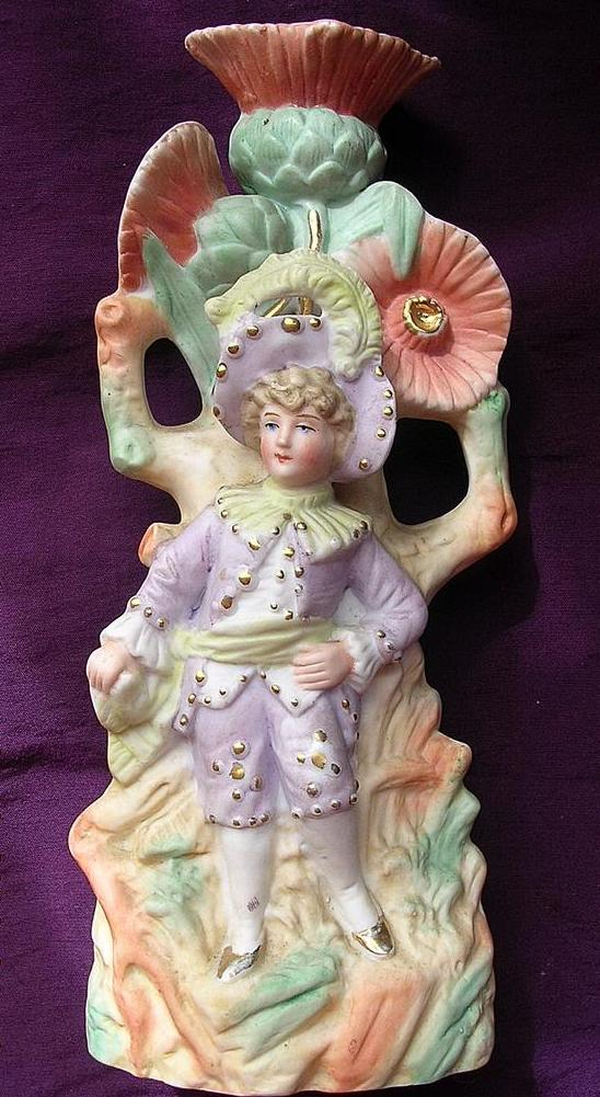 German Bisque Porcelain Candle Holder Circa Late 1800's-1900