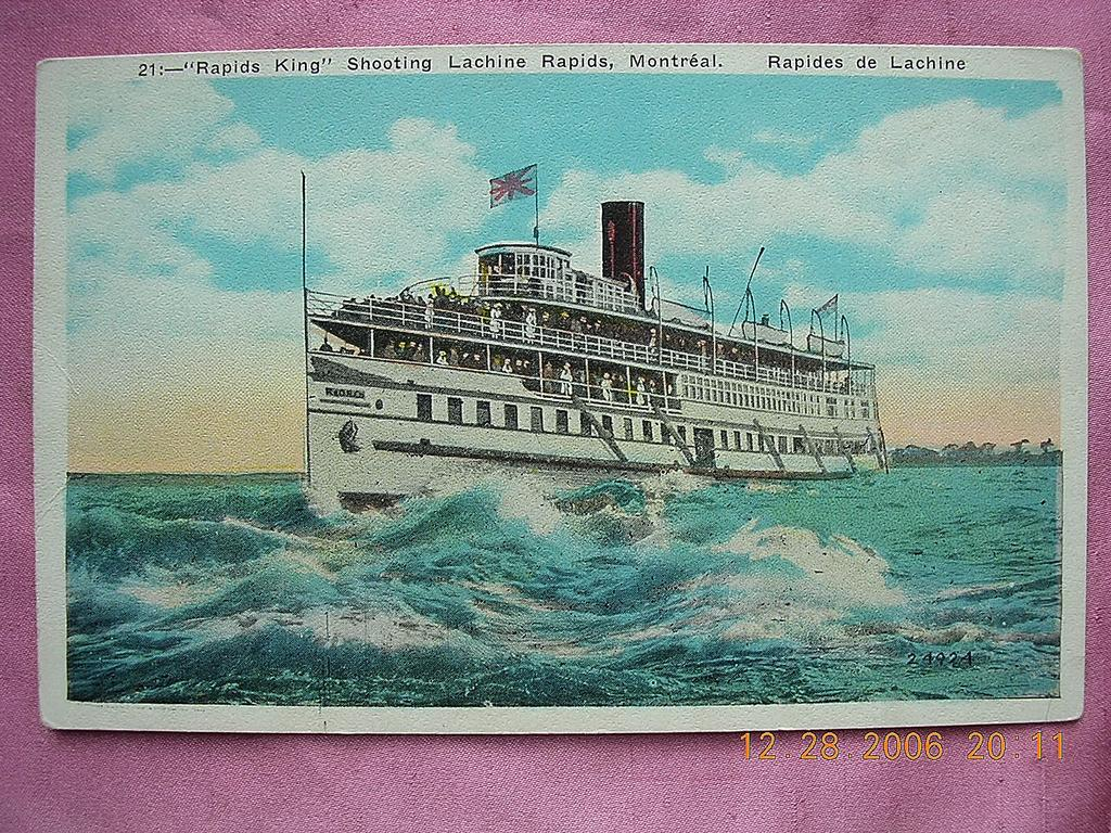 "Vintage Postcard ""Rapids King"" Shooting Lachine Rapids Montreal"