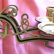 Victorian Art Nouveau Single Piano Candle Sconce with Twin Arms