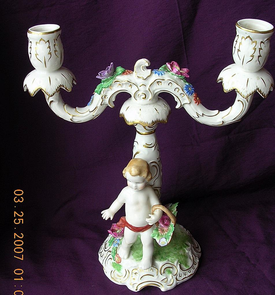Capodimonte Candle Stick Date Stamp Period 1771-1834