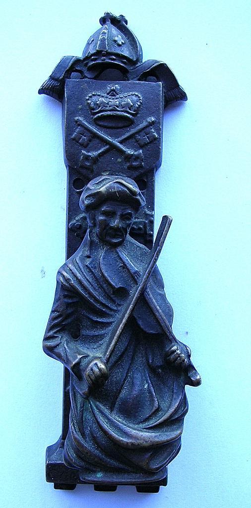 """Victorian """"Violin Player"""" Bronze Door Knocker"""