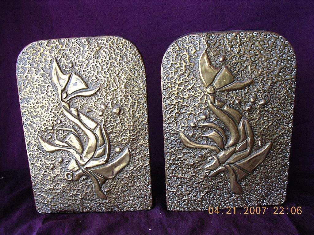 Vintage Arts & Crafts Pressed Brass Book Ends