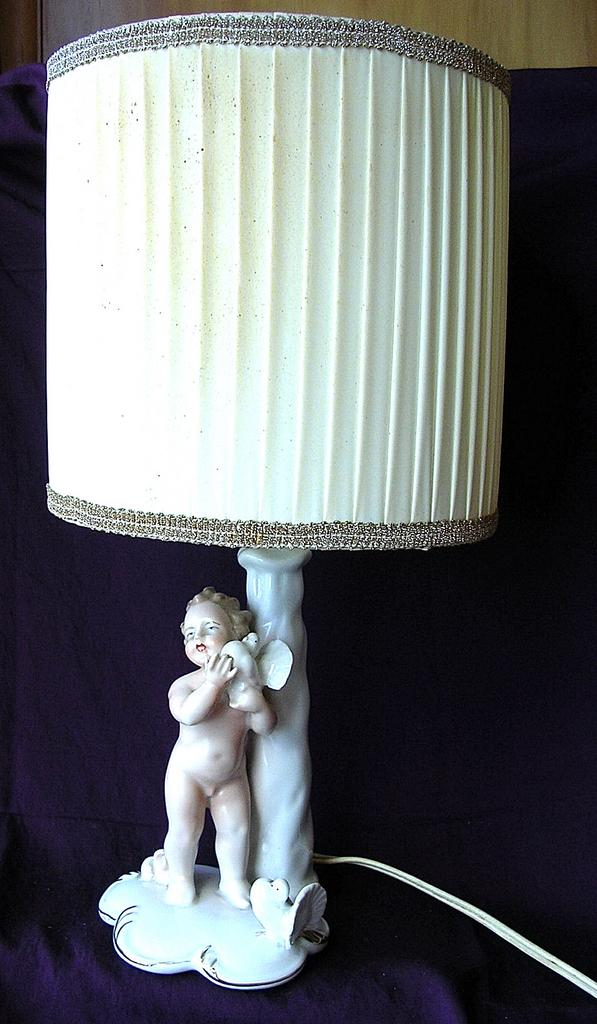 Baroque Style German Bisque Porcelain Cherub Lamp