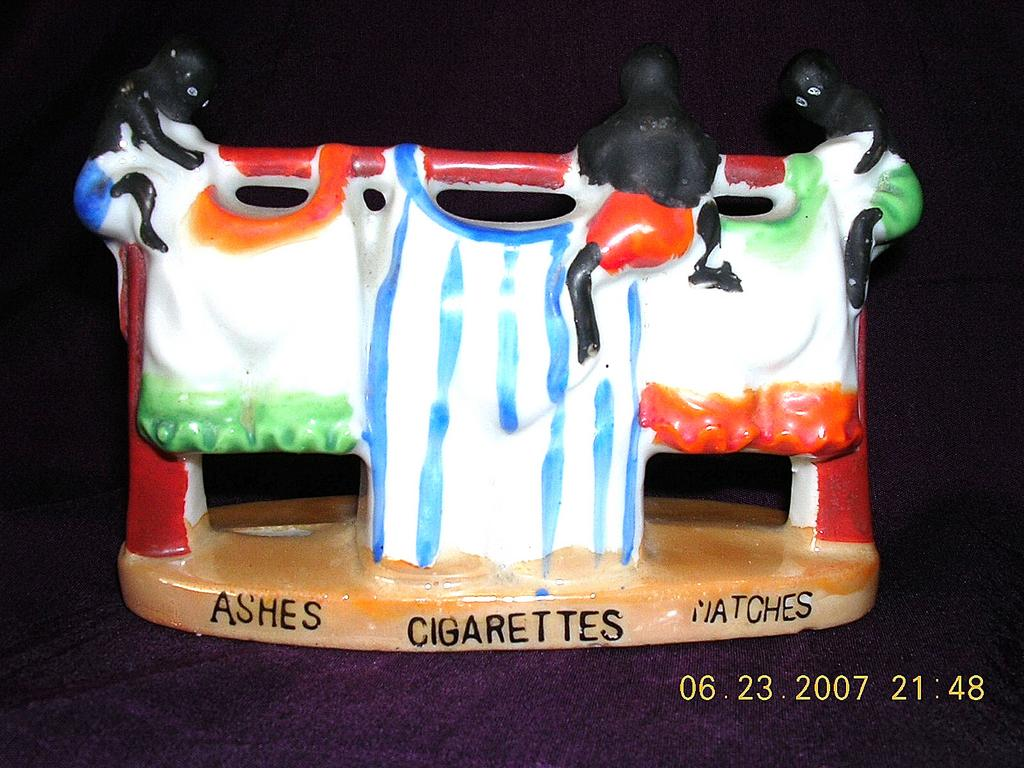 Vintage Negro Boys on Washing Line Ashtray & Cigarette Holder