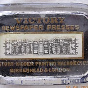 "Vintage Glass Advertising Paper Weight ""VICTORY NEWSPAPER PRESSES"""