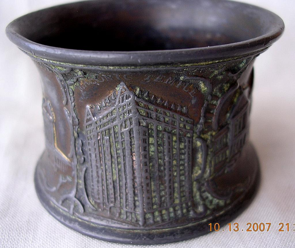Old Chicago Bronze Napkin Ring Souvenir Circa 1900