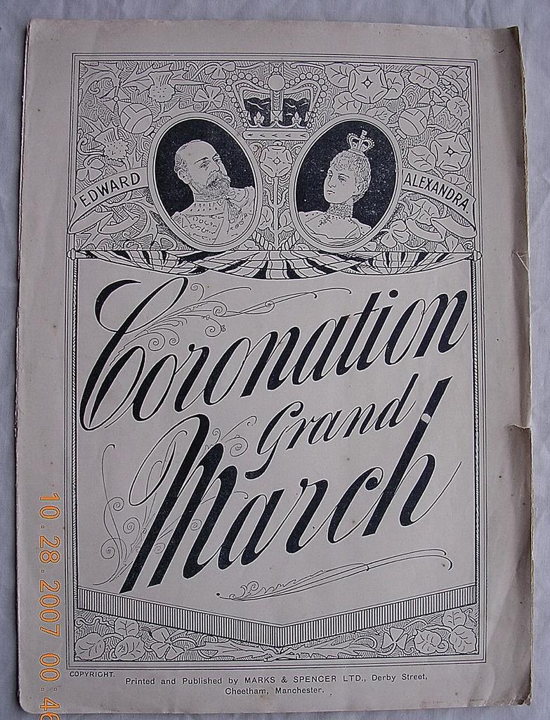 Vintage Edwardian Period Sheet Music 'Coronation Grand March' 1901