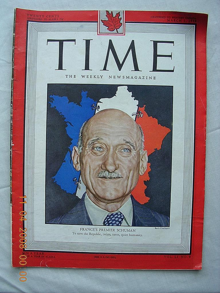 "Vintage Time Magazine March 1st 1947 ""France's Premier Schuman"""