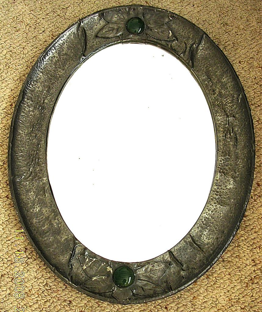Arts and crafts mirrors - Victorian Arts Crafts Pewter Mirror Circa 1890 1900