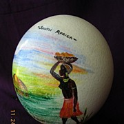 Vintage South African Souvenir  Hand Painted OSTRICH EGG