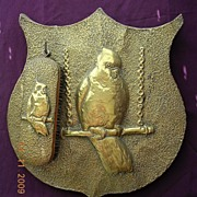Vintage Brass On Wood Cockatoo Wall Shield With Clothes Brush