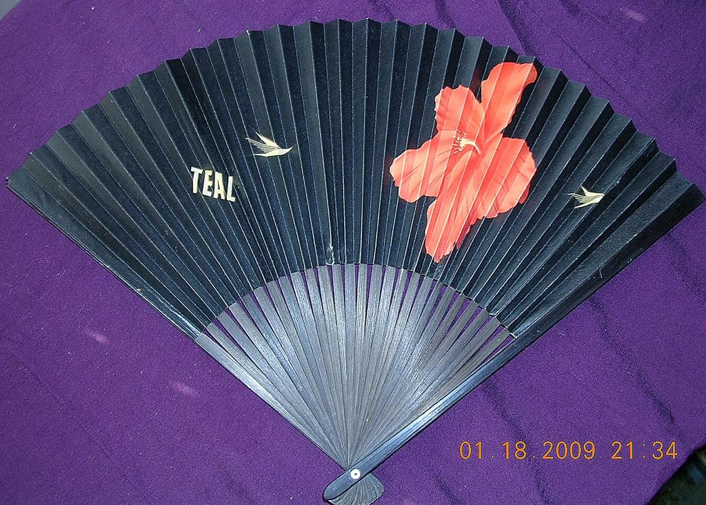 Vintage TEAL Airlines Advertising Fan Circa 1950's