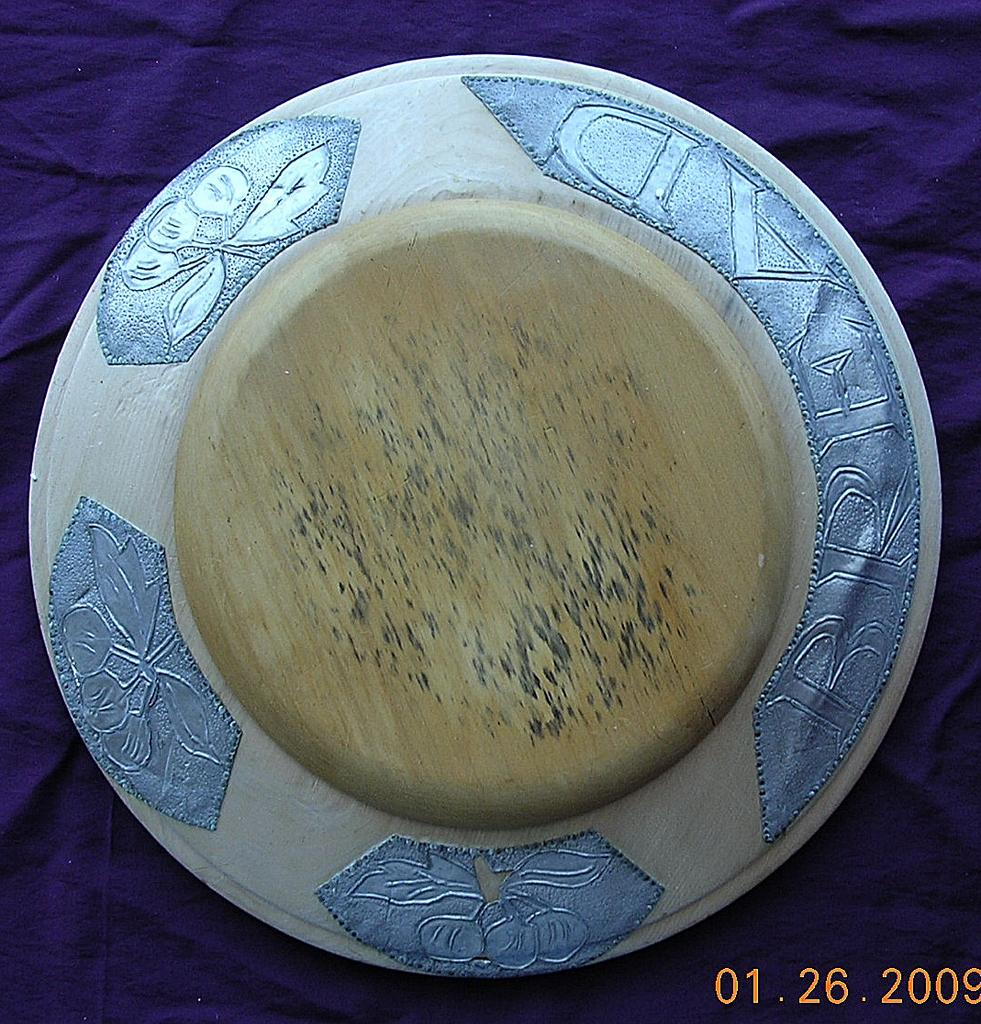 Vintage Alloy Lined Bread Board With Butterfly Decoration