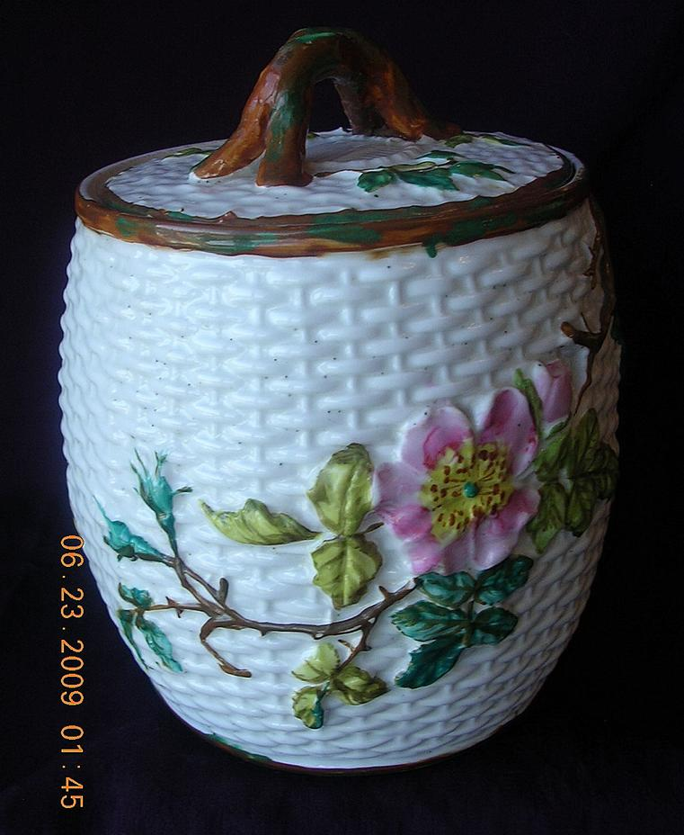 "1875 Victorian ""Crown Pottery' Basketweave Biscuit Barrel"