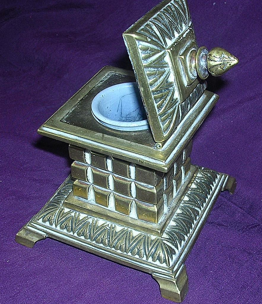 Stunning large Brass Victorian Ink Well