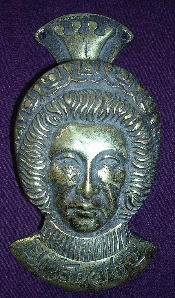 "Large Old Solid Brass ""Elizabeth First"" Door Knocker"