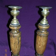 Edwardian Oak & Brass Candle Sticks