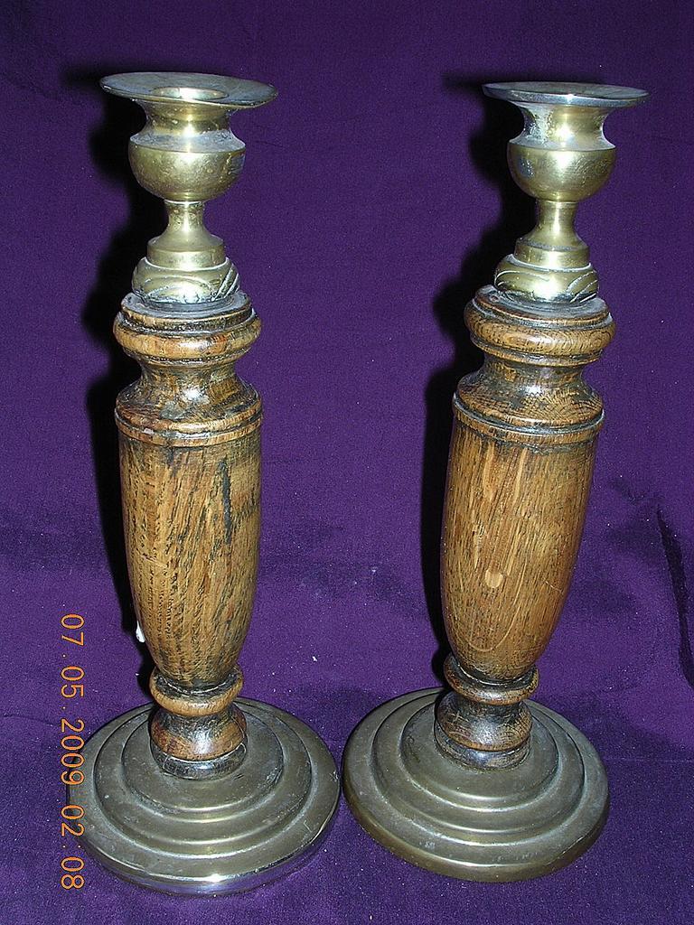 Edwardian Oak & Brass Candle Sticks