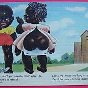 """Vintage Piccaninny Humorous Postcard """"Now Don't Yo' Dawdle Roun' Here"""""""