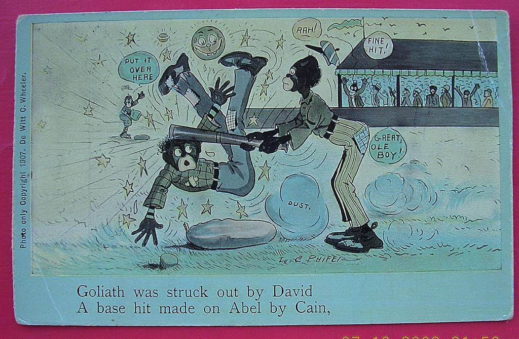 "Vintage Negro Humour Postcard ""Goliath Was Struck Out By David"" 1908"