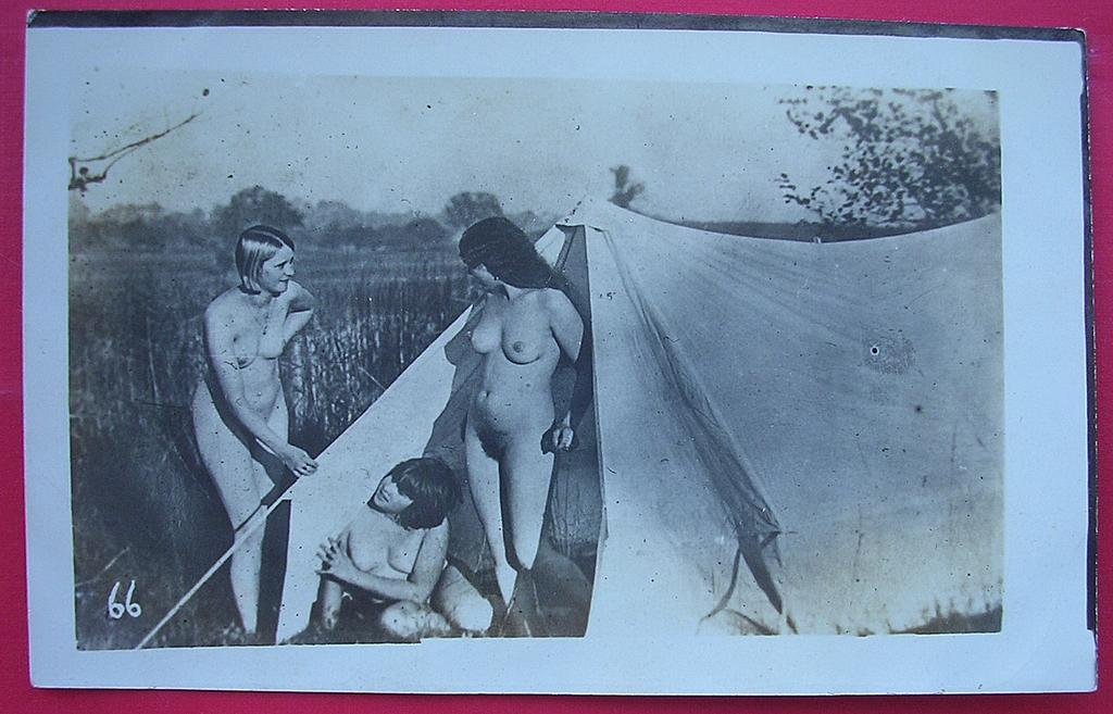 Vintage Nude Nature Lovers French Postcard With Lesbian Overtones