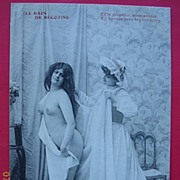"Vintage French Nude Bath Postcard Circa 1900 "" Le Bain de Becatine"""