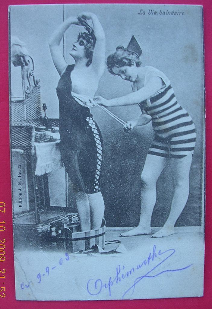 "Vintage 1905 Belgium Risque Postcard ""La Vie Balneaire"""