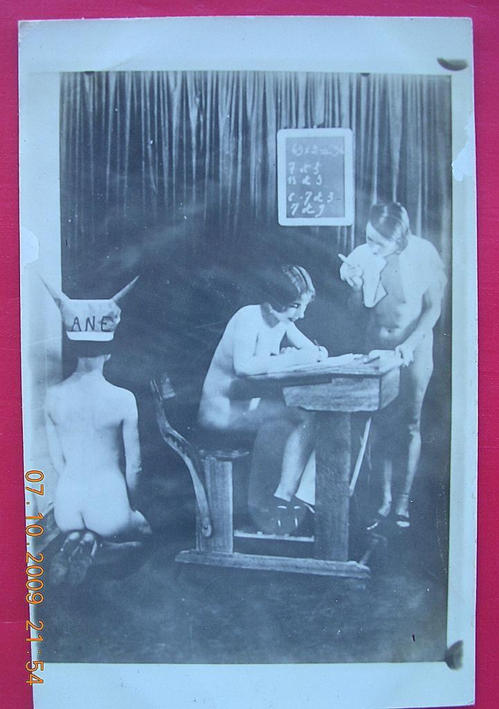 Vintage Nude School Girls Lesbian Overtones Postcard