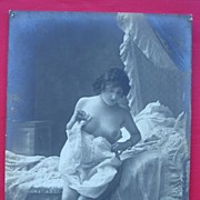 Vintage French Nude Postcard Bed-Time Scene