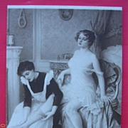 "Vintage French Salon de Paris Nude Postcard ""Getting-Up"""