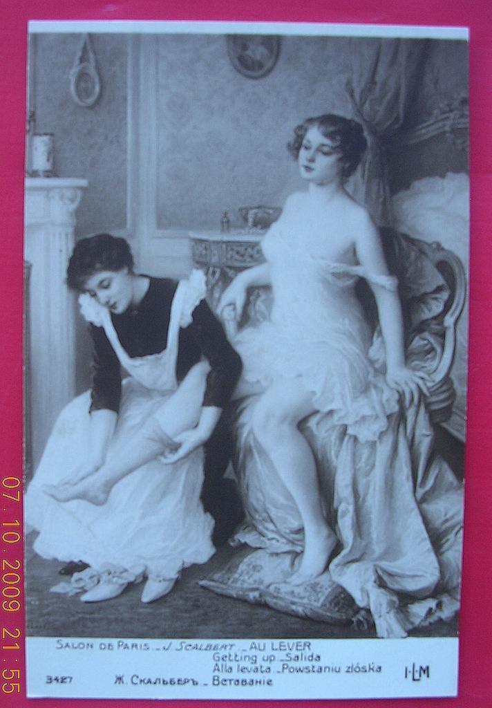 """Vintage French Salon de Paris Nude Postcard """"Getting-Up"""""""