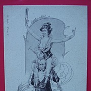 "Risque Victorian / Edwardian Period ""Topless Lady"" Postcard"