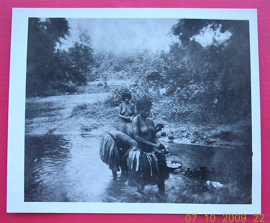 Vintage WW2  New Guinea Native Women Washing In River