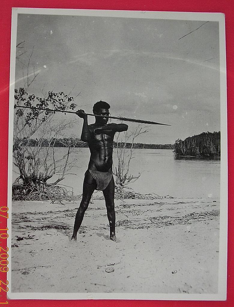 Vintage WW2 Photograph Solomon Islands Native Spear-man