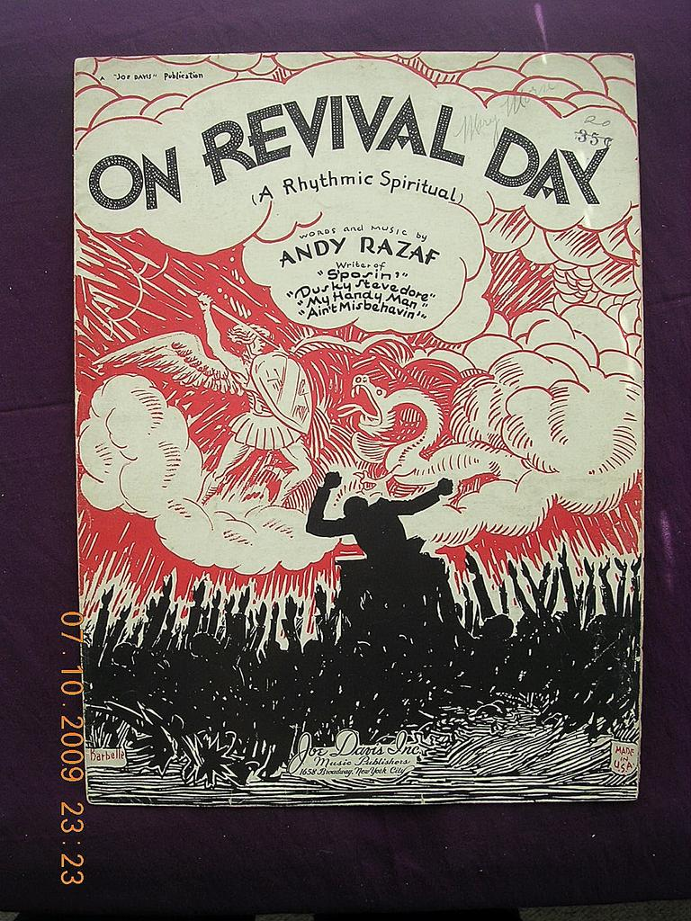 "Vintage Negro Sheet Music ""On Revival Day"" 1930"