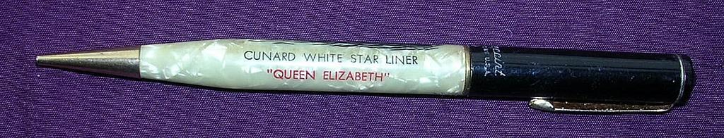 Vintage Queen Elizabeth Cunard Liner Souvenir Propelling Pencil