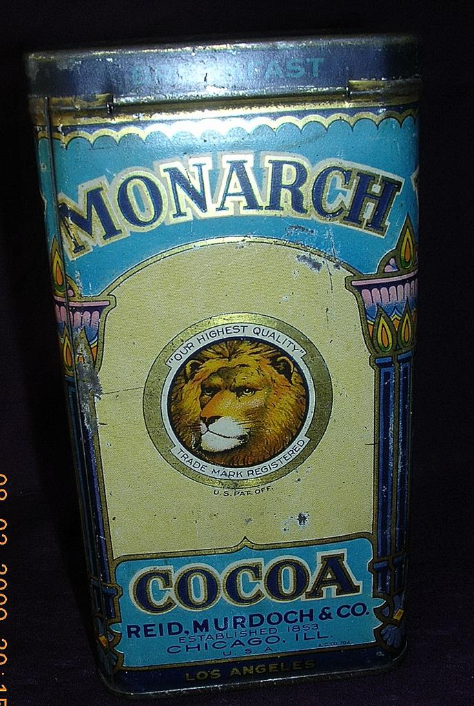 Vintage Monarch Brand Cocoa Tin From Molotov On Ruby Lane