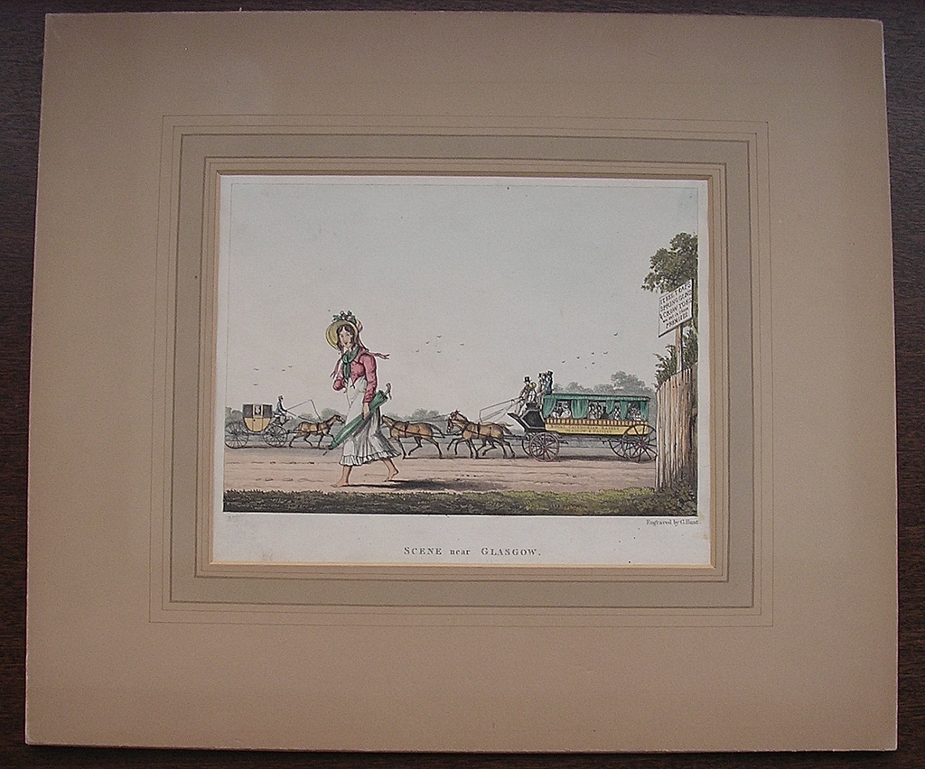 Georgian Engraving Scene Near Glasgow Circa 1825