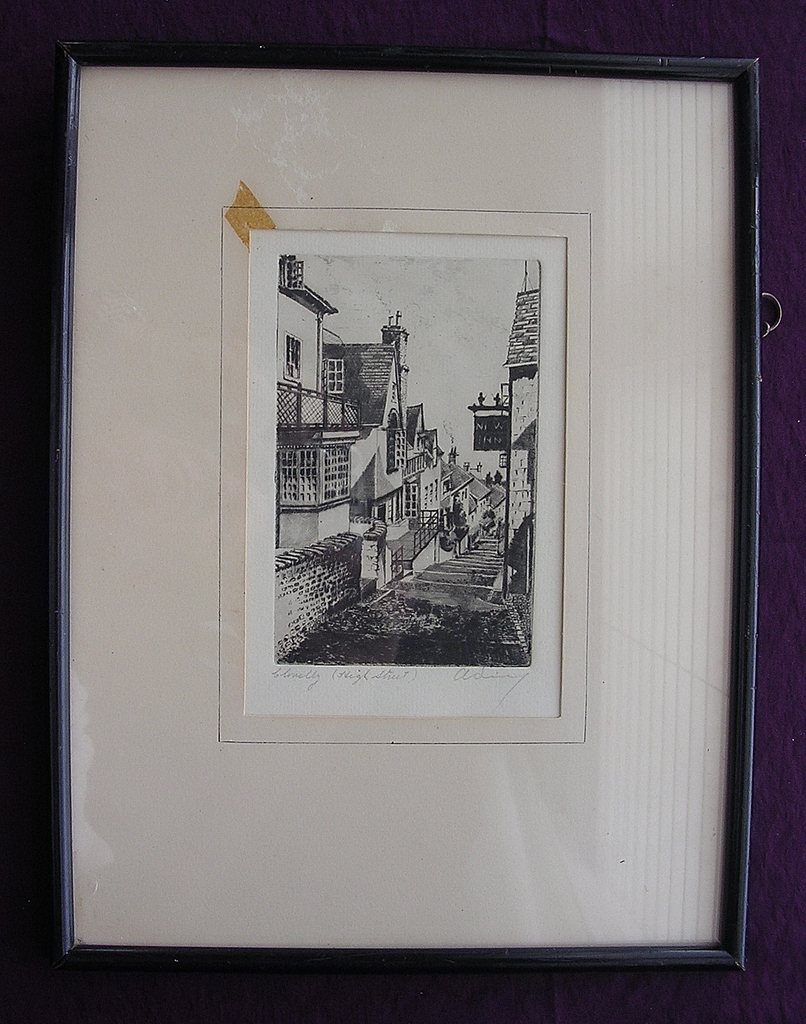 Vintage Charcoal Etching 'High Street, Clovelly' Signed