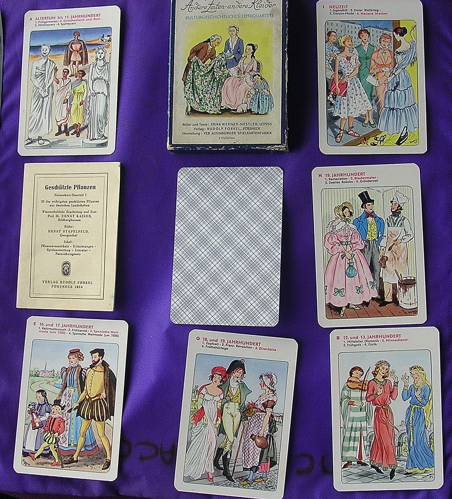 Beautiful Vintage Set Of German Playing Cards 'Fashion Through The Ages'
