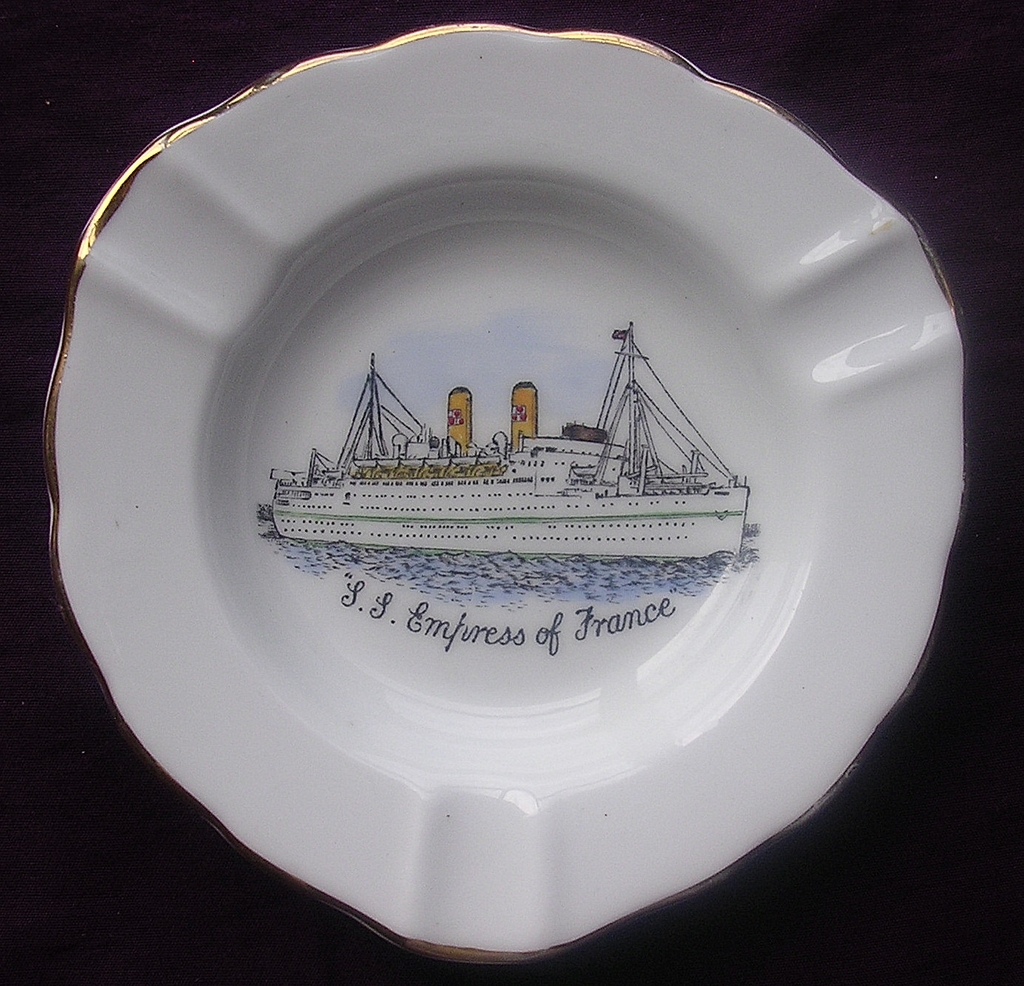 'S.S. Empress Of France' Vintage Souvenir Porcelain Ashtray