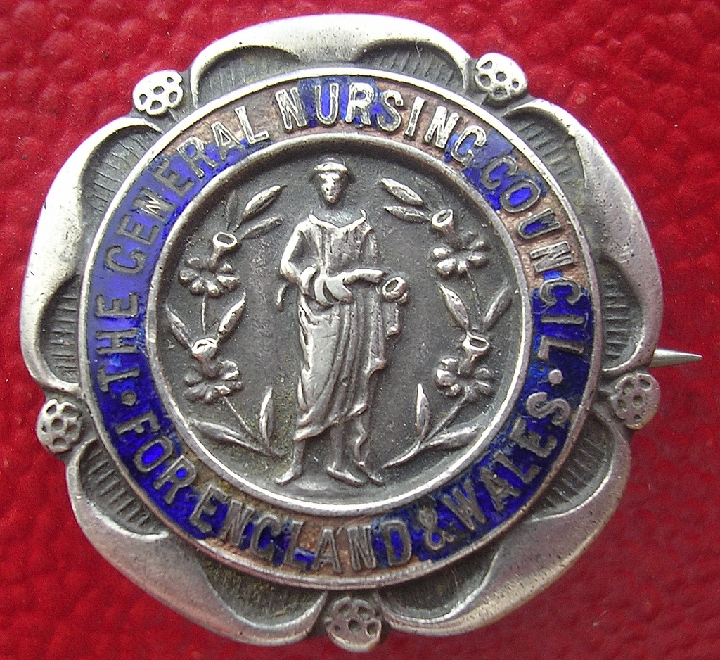 Vintage 1933 England & Wales Nursing Council Badge in Sterling Silver