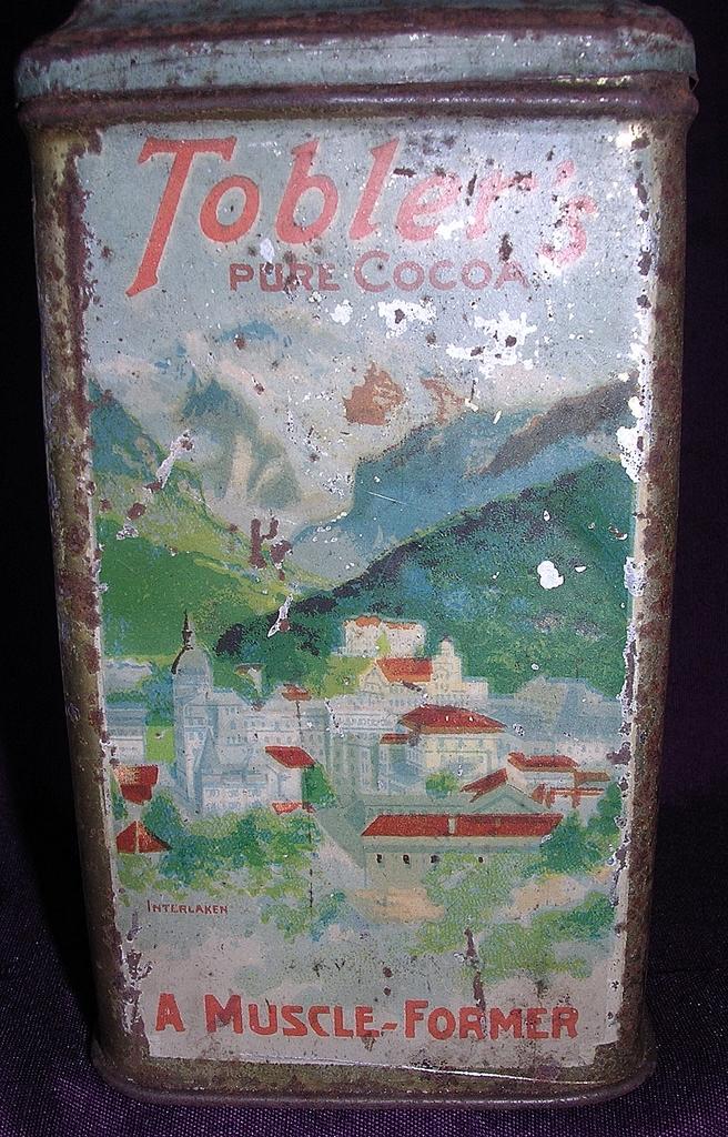 Rare Small Vintage 'TOBLER CACAO' Cocoa Tin Circa 1920 - 1930