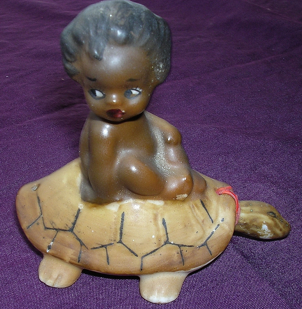 RARE 'Brownie Downing' Aboriginal Child Riding On A Tortoise Circa 1950