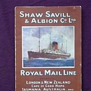 R.M.S. TAINUI - Shaw Savill & Albion Co - Passenger List 1921
