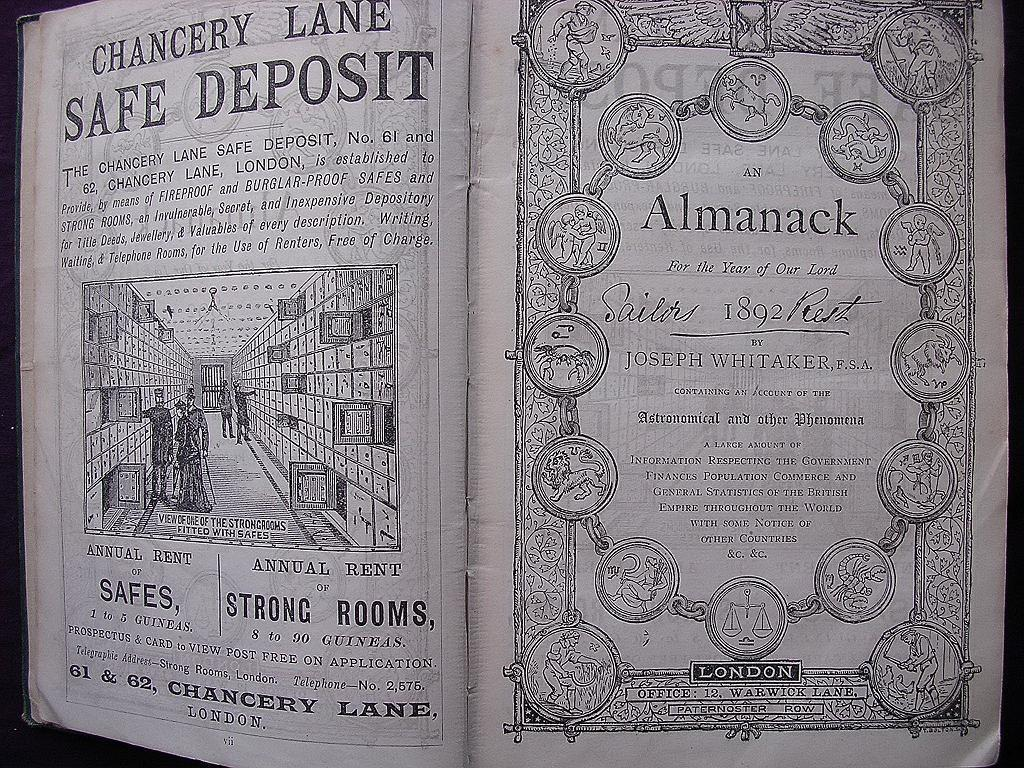 1892 Edition of Whitaker's Almanack
