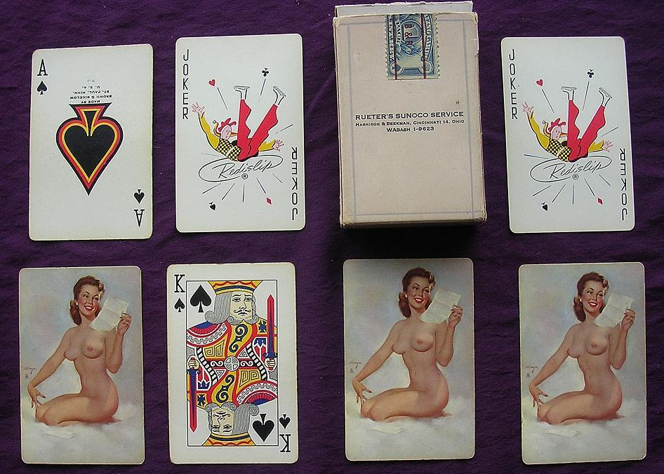 Vintage 'NUDES' Playing Cards 'RUETER'S Sunoco Service'