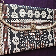 Ravishing Vintage TAPA Cloth Kete or Handbag From The Pacific Islands