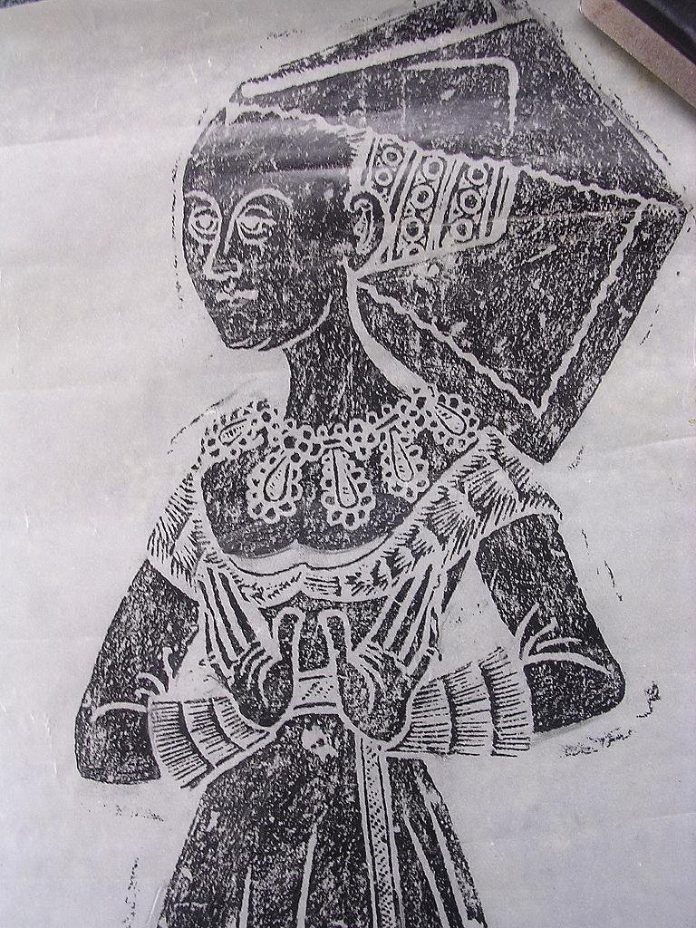 Fabulous Brass Rubbing of Lady ANN HERWARD In Wimple -1485 - Norfolk